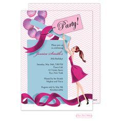 Balloon Gift Girl (Brunette) Invitation