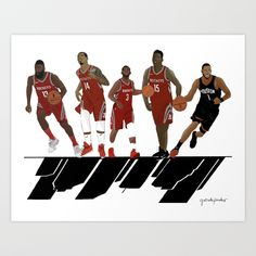 Houston Rockets / Art Print / pinalesillustrated / Worldwide shipping