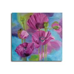 poppy painting,free shipping,flower painting, purple canvas, original oilpainting , 20 x 20 in/50x50cm, home decor, wall decor,fine art,