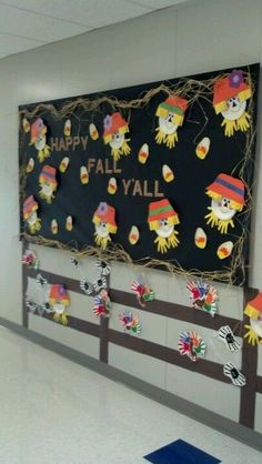 Preschool fall bulletin board-- love the hand print turkeys on the door November Bulletin Boards, Preschool Bulletin Boards, Classroom Bulletin Boards, Classroom Decor, Bullentin Boards, Halloween Bulletin Boards, Christmas Crafts For Toddlers, Toddler Crafts, Fall Crafts