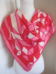 Vintage Vera Neumann Large Red Pink Silk Scarf   by TotallyScarves
