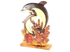 NAUTICAL NATURAL WOOD TWIN DOLPHINS SEA LIFE DECORATIVE ARTWORK TABLE FIGURINE