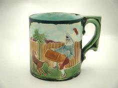 Rare Antique Majolica Art Pottery Coffee Mug Hurdy Gurdy Organ Grinder & Monkey