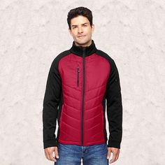 Ash City-North End Sport Red-Epic Mens Insulated Hybrid Bonded Fleece Jacket -88662