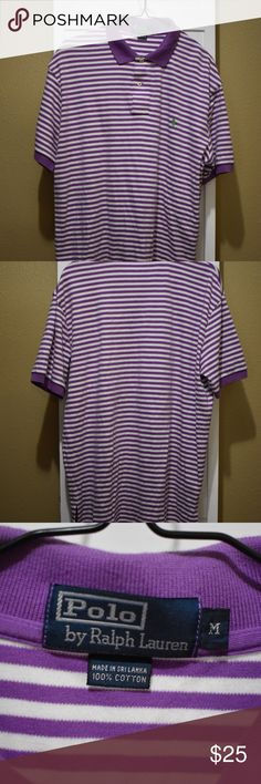 068ac3aa8 Ralph Lauren polo Purple and white striped shirt with lime green horse  logo. Polo by Ralph Lauren Shirts Polos