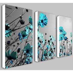 Teal Flowers Split Frame Canvas Print - Canvas Only - Printe ...