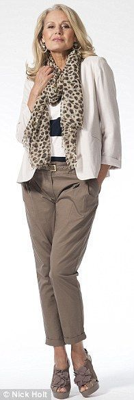 elegant look with sand blazer, taupe pants and animal print scarf