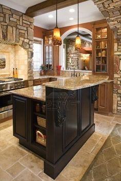 paint the kitchen island black.  Add mouldings and baseboard, maybe even brackets.  See how this looks than consider painting kitchen office as well.