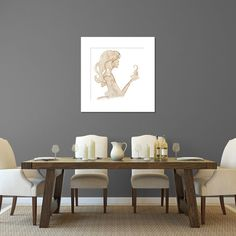 Coffee Stained Girl 12x12 Coffee Stain Art by OverboardonParis