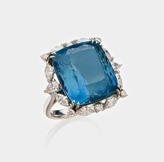 18 KARAT WHITE GOLD, AQUAMARINE AND DIAMOND RING, ALEXANDER LAUT Estimate 15,000 — 20,000 USD