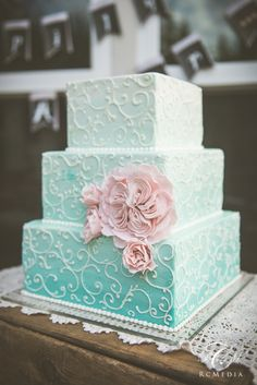 Three tier, square, ombré Wedding cake with delicate scroll work. (This was my actual cake-so gorgeous!)