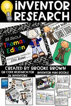 Research resources for 26 different inventors with QR codes, mini book pages, and green screen presentation puppets! Perfect for second grade, third grade, and fourth grade   Elementary research
