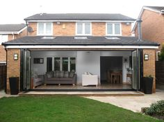 bi folding doors with log burner Bungalow Extensions, Garden Room Extensions, House Extensions, Kitchen Extensions, Single Storey Extension, Rear Extension, Extension Ideas, House Extension Design, House Design