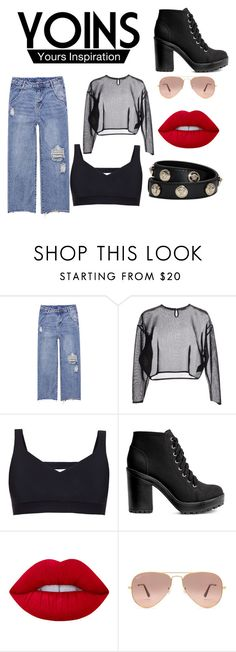 """""""YOINS"""" by dark-girl-2 ❤ liked on Polyvore featuring Yves Saint Laurent, Ultracor, Lime Crime, Ray-Ban and Versace"""