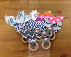 Cloth and maple wood teething ring  Whale Tail by Sewaimee on Etsy