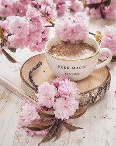 Everything around here has suddenly burst into bloom. How is it by you, Let's celebrate with a fresh cuppa! Coffee And Books, Coffee Love, Coffee Art, Coffee Break, Morning Coffee, Coffee Cups, Tea Cups, Hot Chocolate, Still Life