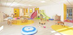 Projet architecture crèche Design Maternelle, Beton Surface, Kindergarten Design, Montessori Bedroom, Learning Spaces, Architecture, Furniture Design, Conception, Deco