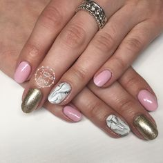 Gelish: pink smoothie, izzy wizzy, give me gold, arctic freeze marble detail