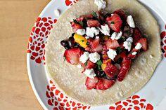 black bean and feta tacos with strawberry mango salsa