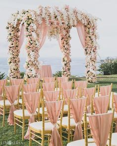 Classic Pink and White Mandap  By Lin and Jirsa Photography