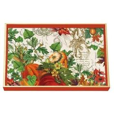 This Thanksgiving, you'll want everything to feel, smell, taste and look like Autumn! This wooden tray features a classic autumn collage and gold edging. Handmade in the USA by Michel Design Works.