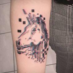 Unicorn head, 2 color contemporary tattoo style done by tattoo artist Damian Orawiec Tattoo Drawings, Body Art Tattoos, Hand Tattoos, Cool Tattoos, Tattoo Images, Tattoo Photos, Vapor Art, Epic Tattoo, Unicorn Tattoos