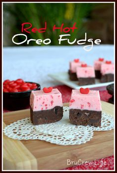 Red Hot Oreo Fudge - two layers of fudge mixed with Oreo chunks and red hot candies #fudge #Oreo #redhots http://www.insidebrucrewlife.com