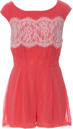 Lace Coral Playsuit- Women's Clothing- Love Online Fashion