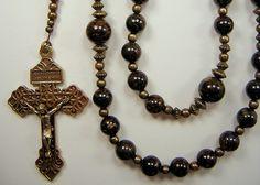 "Mens Rosary XLong Catholic Pardon Crucifix Gemstone Necklace 30"" Genuine Bronzite Beads Bronze Masculino Collar Rosario FREE shipping USA by TheGemBeadLink on Etsy"
