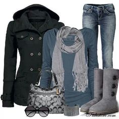 Minus the Ugg Boots, and replace them with a cute pair of normal grey boots, and this is really cute.