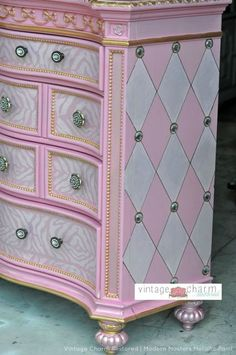 What if we did something similar with beading and harlequin pattern on the sides of the end cabinets? At each intersection I'd like some type of antique metal and/or gem appliqué. Also, take note of the small ribbon appliqué and (at the very top) the decorative crown molding, both painted in two colors. Maybe even incorporating the beading in the crown molding. I'd also like to add feet to certain cabinets for another added detail.