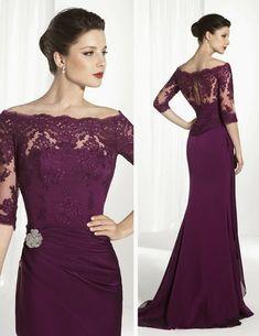 Vestido con detalles de encaje Evening Dresses, Prom Dresses, Formal Dresses, Wedding Dresses, Mother Of The Bride Dresses Long, Illusion Neckline, Purple Dress, Designer Dresses, Ball Gowns