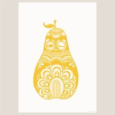 Folkloric Pear poster yellow - 50x70 cm. - Mini Empire