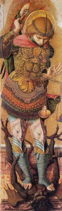 Saint Michael / San Miguel Arcángel //circa 1476 // Carlo Crivelli // © The National Gallery,London Saint Michael, St. Michael, Angels Among Us, Angels And Demons, Italian Renaissance, Renaissance Art, Religion, National Gallery, Archangel Michael