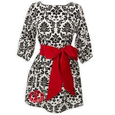 Ladies Black Damask Red Corduroy Sash Tunic