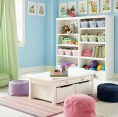 Kids play room-I like it but where are the giant obnoxious Little People houses/farms, the play kitchen and random play food laying around? what, the books aren't all pulled off the shelves? This is not a real play room!!