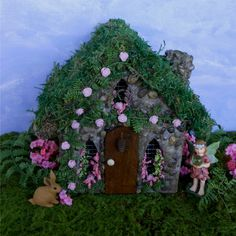 Rose Cottage Fairy House Fairy GardenMiniature by enchantedgardens