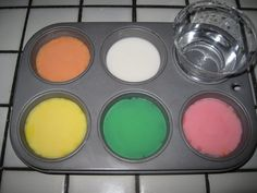 Sidewalk chalk paint  1 cup water 1 cup cornstarch food coloring (any colors you desire!!)  Mix the water and cornstarch together until combined. I then separate the mixture into cupcake tins or those smaller plastic cups. Then, get our your food coloring and add a few drops to each tin or cup