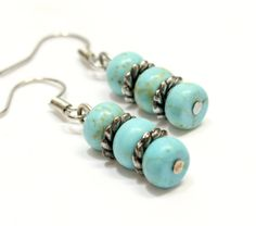 Three Stone Howlite Earrings. Stacked Blue Stone by BeadedEclectic, $9.99