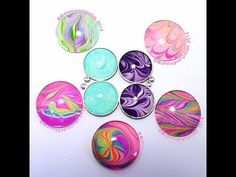 Water marble cabochon Jewellry - YouTube. Nail polish in water with a glass cabochon dipped into it. Really interesting technique.  6/2015 js