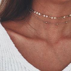 Fashion Choker Necklace Sequin Beads Set Chain Link Gold Silver Women Jewelry #LFS #Choker