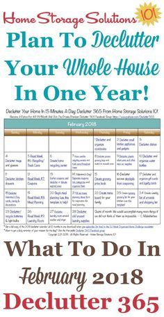 Free printable February 2018 #decluttering calendar with daily 15 minute missions. Follow the entire #Declutter365 plan provided by Home Storage Solutions 101 to #declutter your whole house in a year. #declutteringahouse