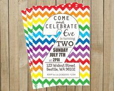Lil's 2nd Birthday?  Rainbow Chevron Two Rainbow Second Birthday Invitation, Custom Digital File, Printable