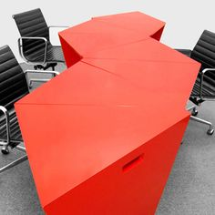 Modular Table Furniture Design Octavo in Red Color by IMAKE Studio Brooklyn New York