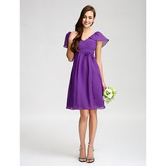 Knee-length+Chiffon+Bridesmaid+Dress+Sheath+/+Column+V-neck+with+Bow(s)+/+Sash+/+Ribbon+/+Side+Draping+/+Criss+Cross+–+USD+$+66.49