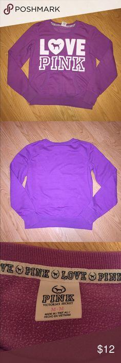 Victoria's Secret PINK sweatshirt Purple sweatshirt. Great condition! Size medium. Front pocket. White lettering. Victoria's Secret Tops Sweatshirts & Hoodies