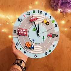 Paper Clock, Clock Art, Diy Clock, Boys Truck Room, Boys Transportation Bedroom, Boys Construction Room, Abc Wall, Baby Furniture Sets, Handmade Clocks