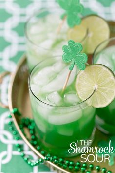 The Shamrock Sour Cocktail. 10 Festively Green Cocktails To Make On St. Dessert Drinks, Party Drinks, Fun Drinks, Yummy Drinks, Desserts, Beverages, Mixed Drinks, Alcoholic Drinks, Sour Cocktail