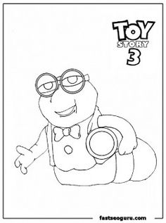 Worm Bookworm Toy Story 3 Coloring Pages Childrens