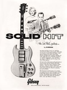 """This 1961 poster was the first advert for a Gibson SG. Originally the guitar was called a Les Paul but was soon renamed the SG and was advertised as having """"The fastest neck in the world""""."""